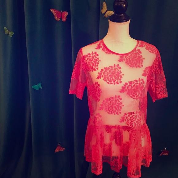 8f63c319592bd ASOS Tops - ASOS Hot Pink Sheer Floral Lace SS Peplum Top US 6